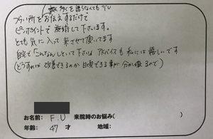 生駒市 F・U様 40代の口コミ