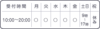 【受付時間】平日9:00~12:00/15:00~20:00|土日9:00~17:00【休み】祝日