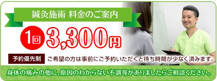 鍼灸施術 1回3300円